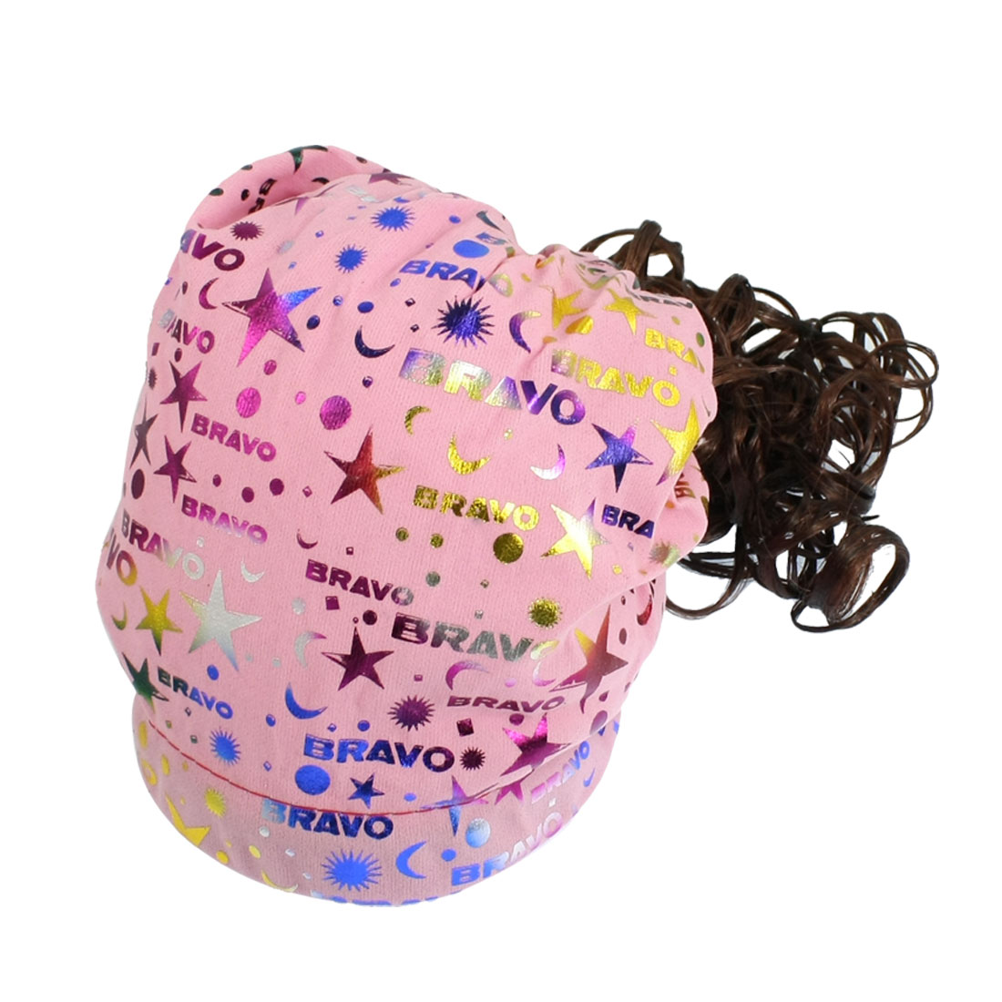 Girls Brown Soft Synthetic Hair Multicolor Cap Curly Wig Hat