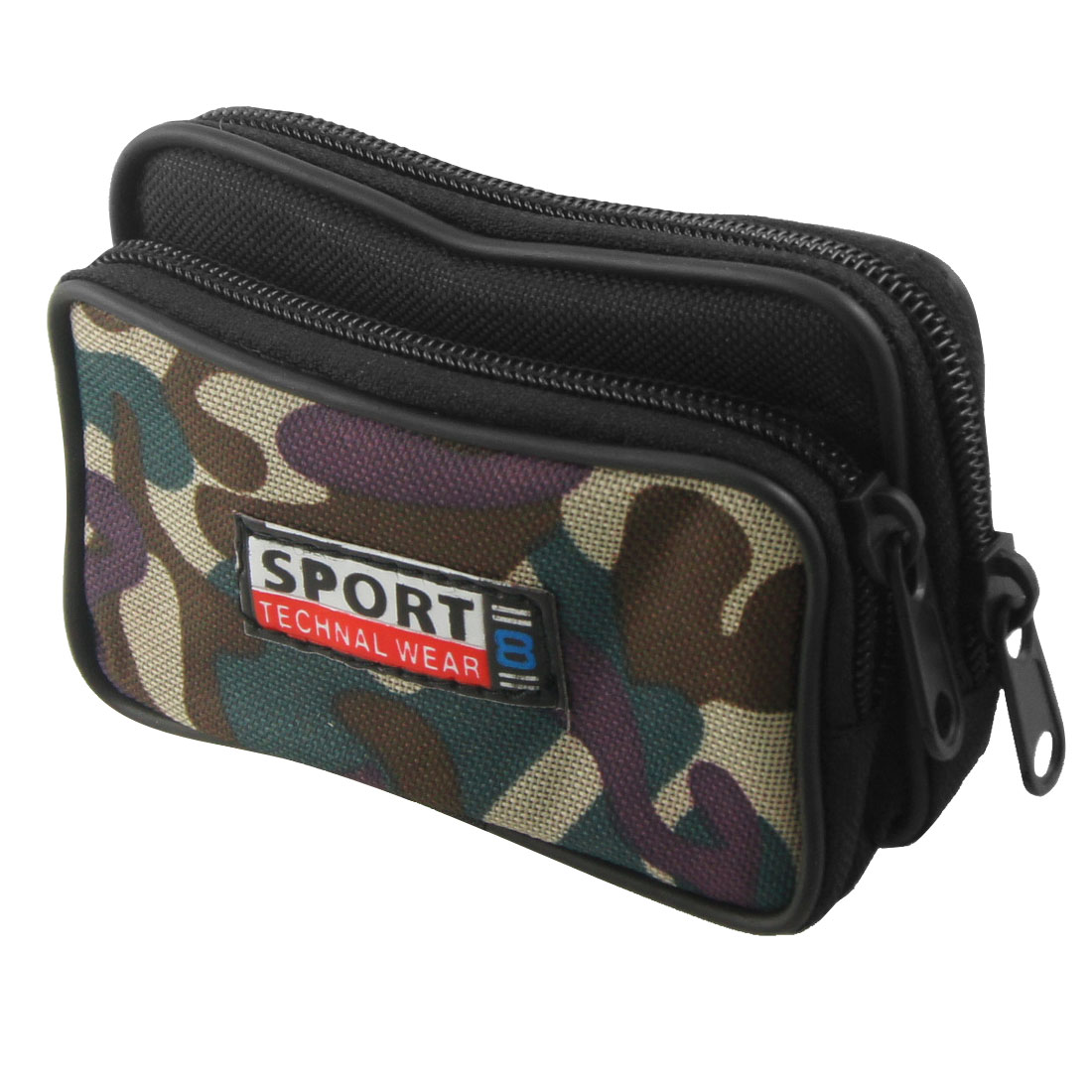 Man Black Camouflage 2 Compartment Zipper Rectangle Waist Bag