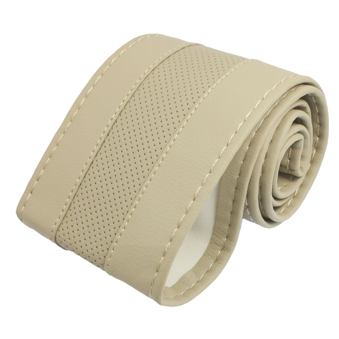 Foam Inner Solid Beige Mesh Hole Faux Leather Car Steering Wheel Cove 35-36cm