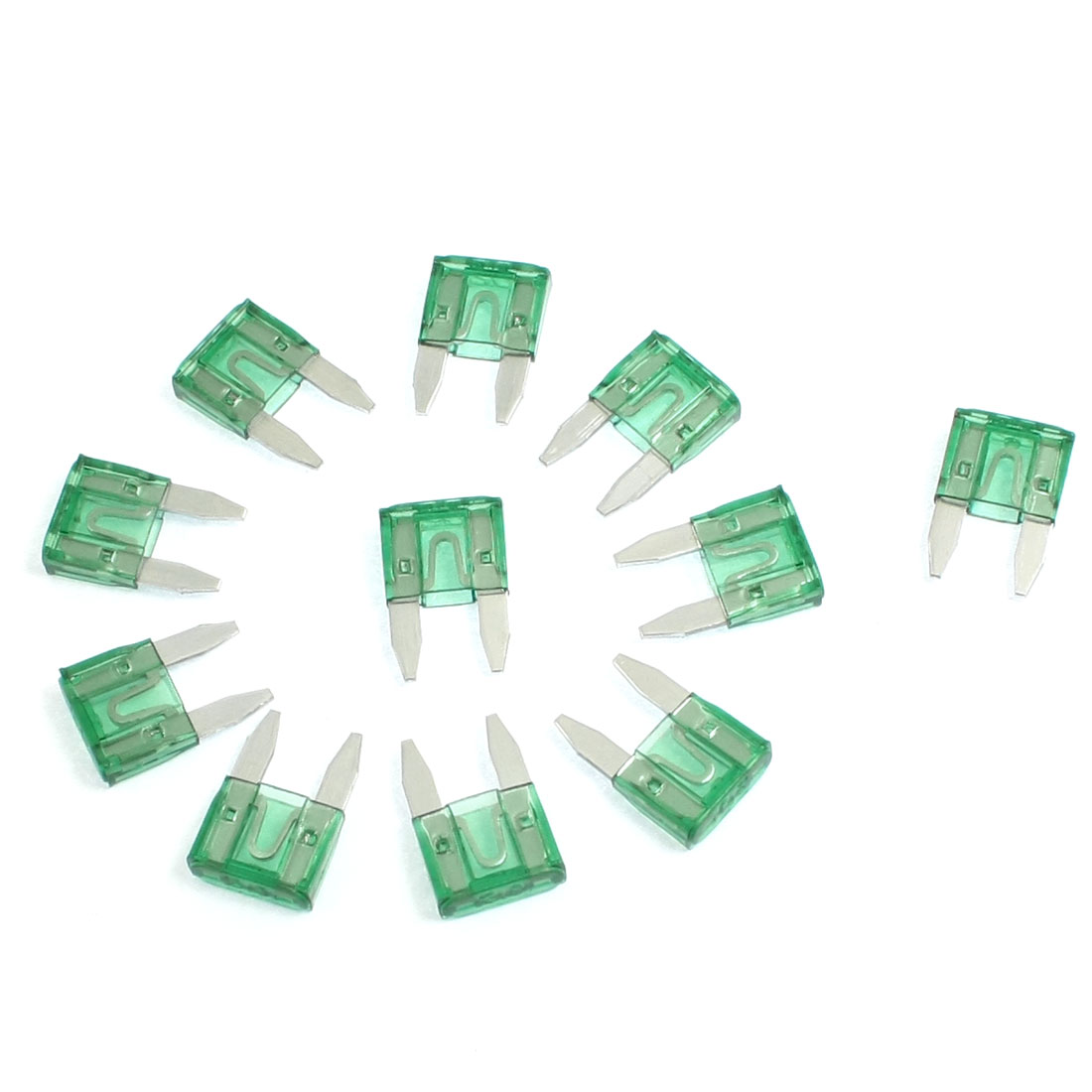 Fast Acting Car Trucks Auto Mini Blade Fuse 30A Green 11 Pcs