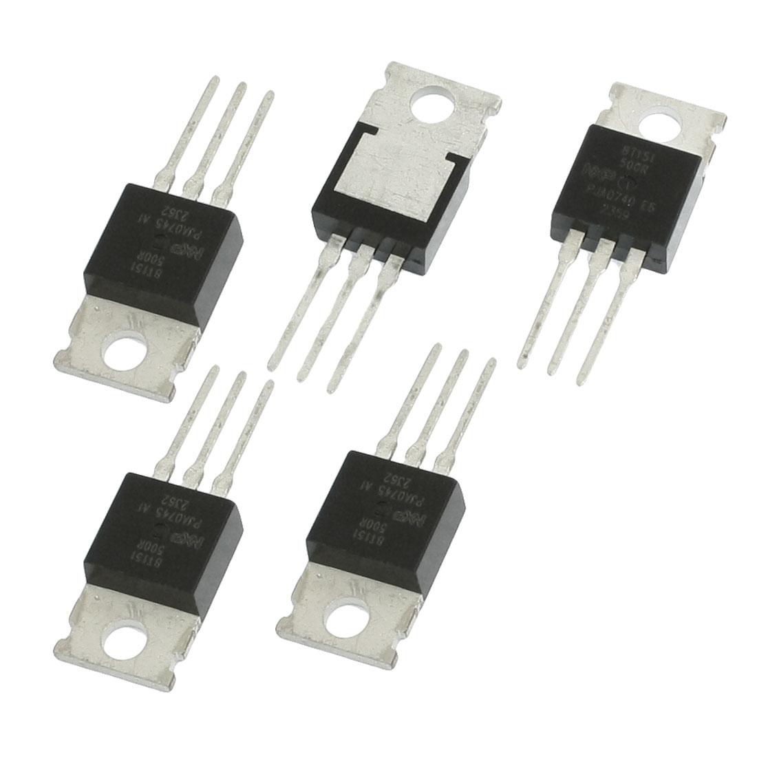 5 Pcs BT151-500R 12A 500V Thyristors for Motor Control Black Silver Tone