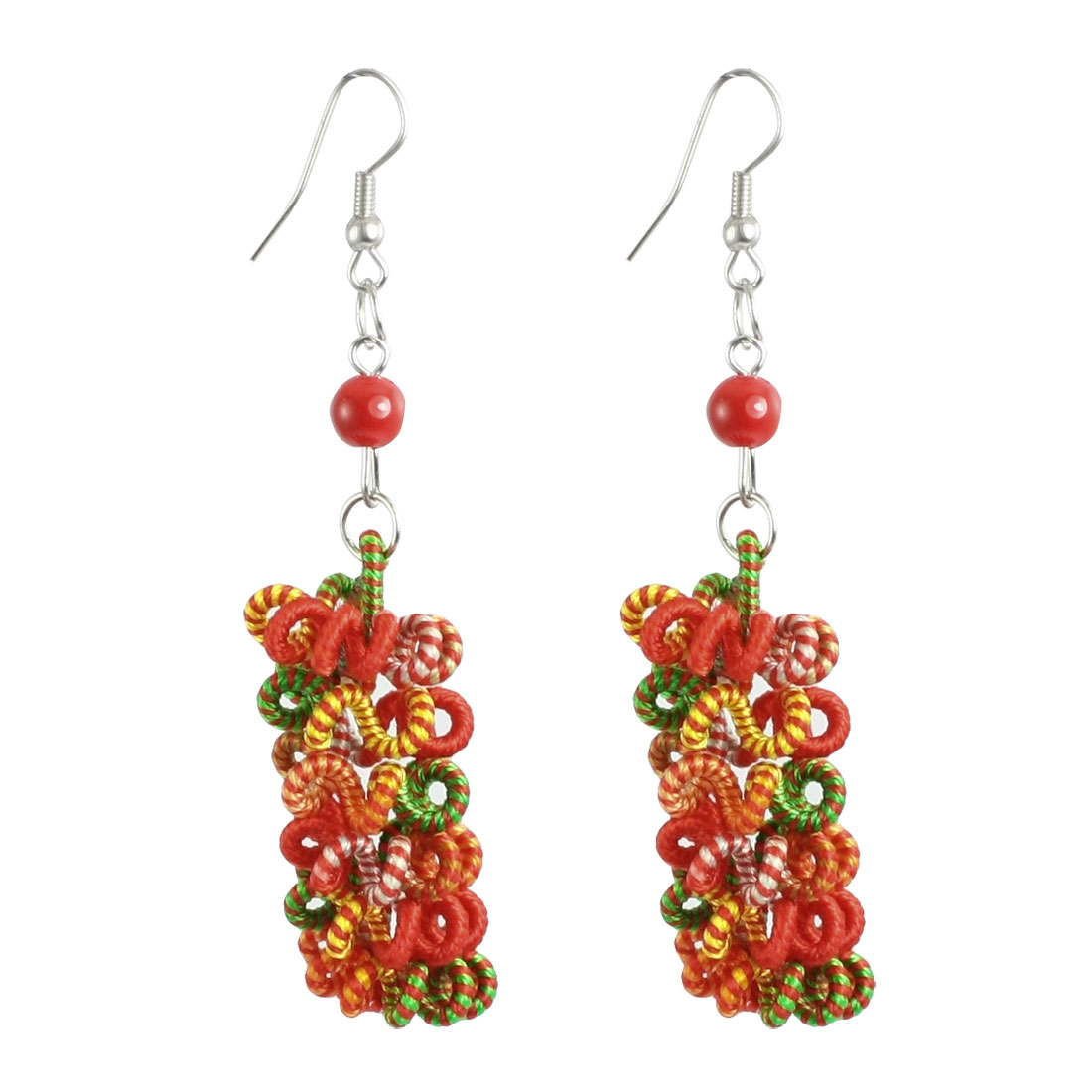 Women Green Red Yellow Cord Fried Dough Twist Hand Craft Earrings Pair
