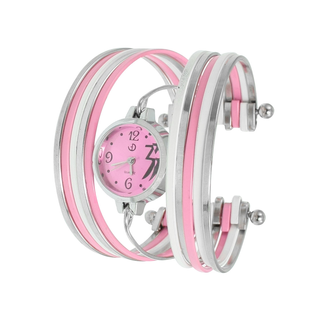 Lady Round Dial Pink White Silver Tone Multi Tier Bracelet Watch