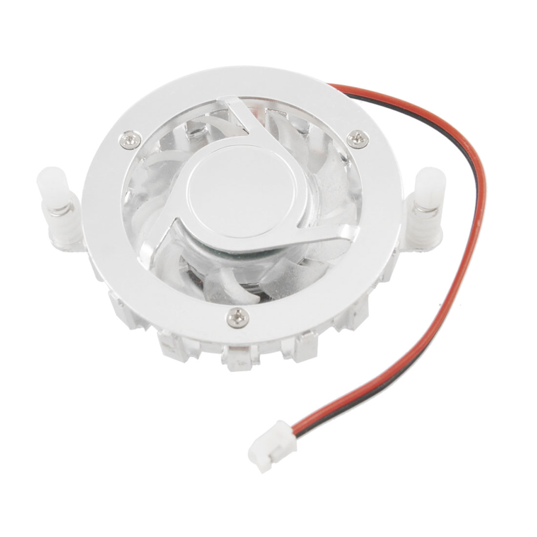 Silver Tone Round 2 P Connector Computer CPU Cooler Cooling Fan