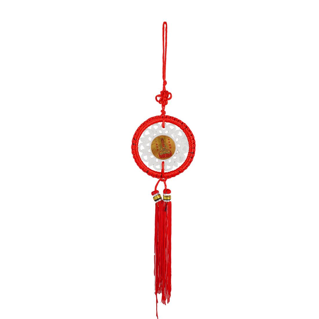 Avalokitesvara Pattern Faux Jade Centering Red Tassel Chinese Knot Ornament