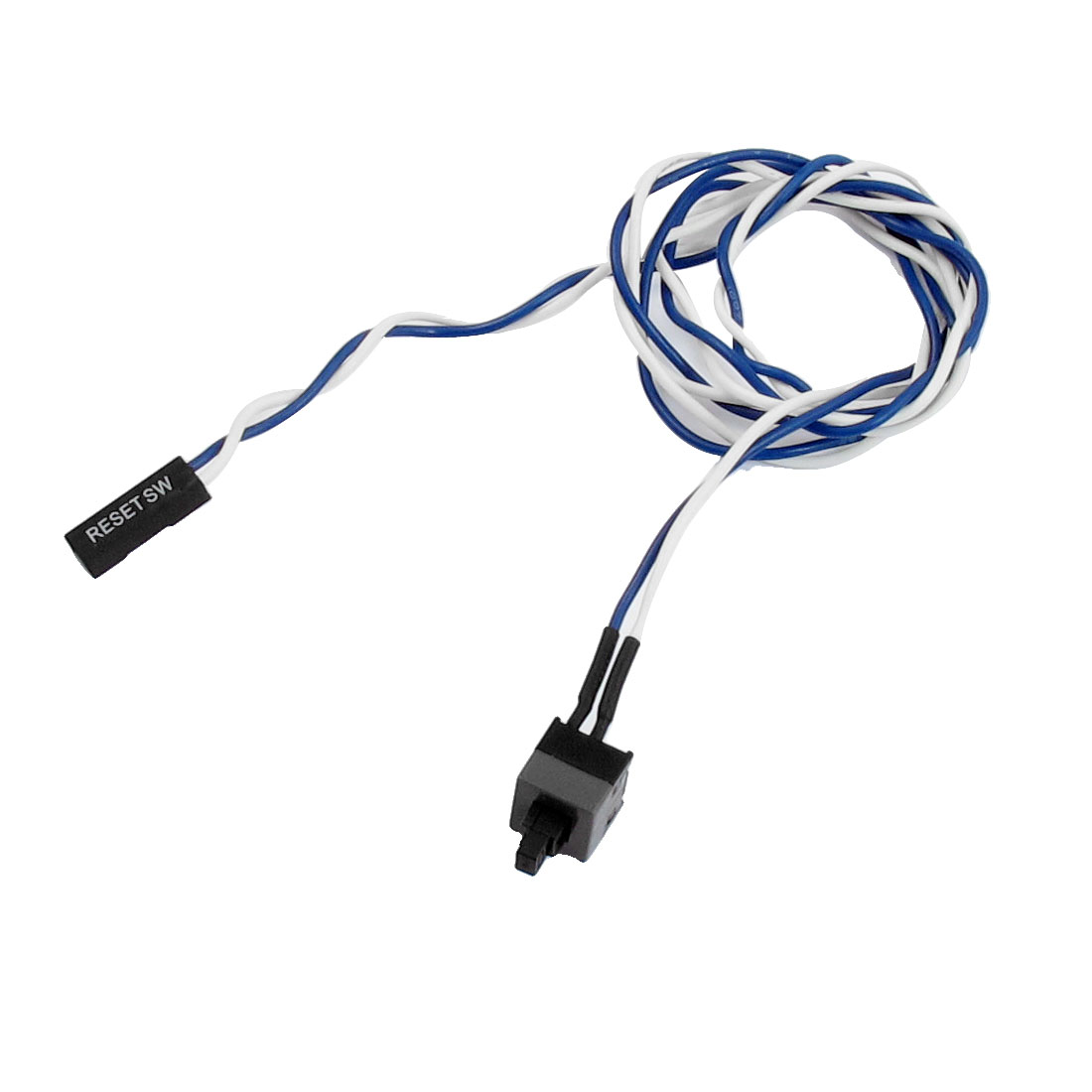 "Blue White 22.8"" Length Cable ATX Power On Supply Reset Switch Cable"