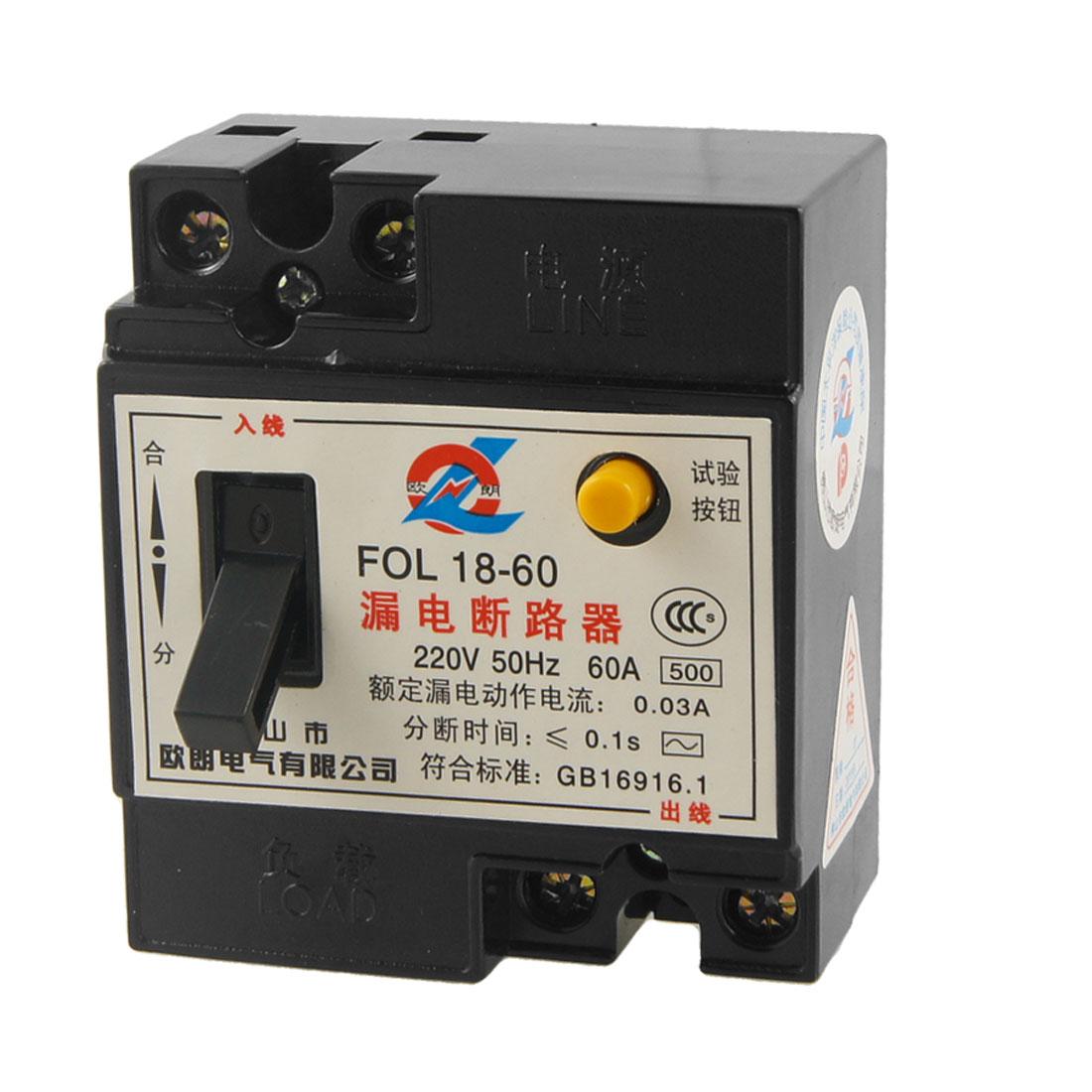 220V AC 60A 2P RCCB FOL18-60 Residual Current Circuit Breaker