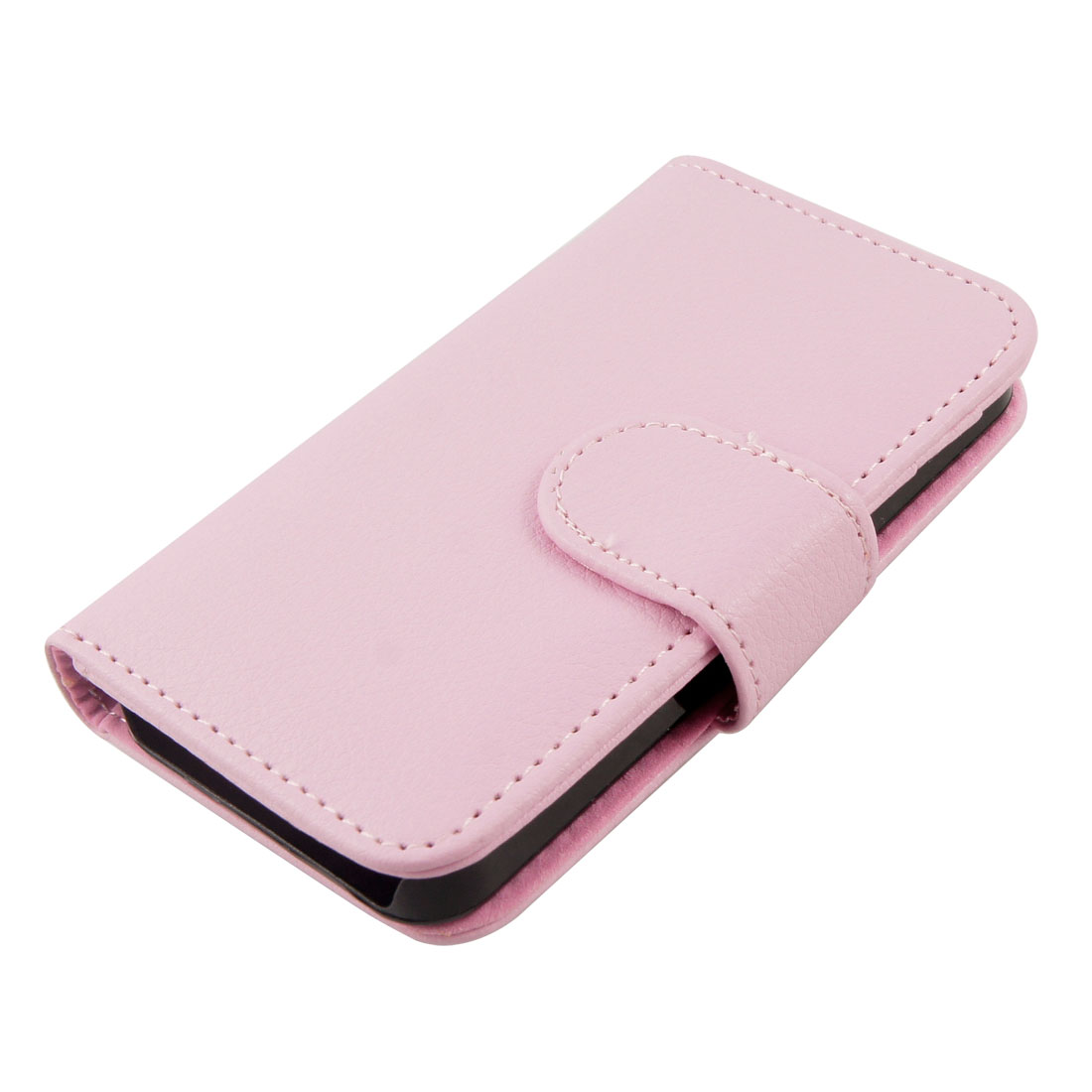 Magnetic Closure Pink Faux Leather Coated Cover for iPhone 4 4S
