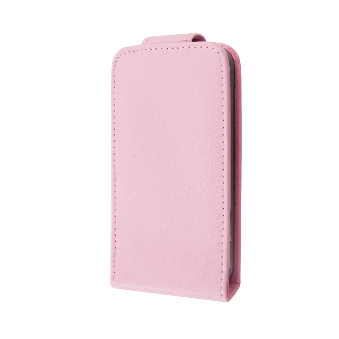 Pink Faux Leather 3 Pockets Vertical Pouch Case Holder for iPhone 4 4S