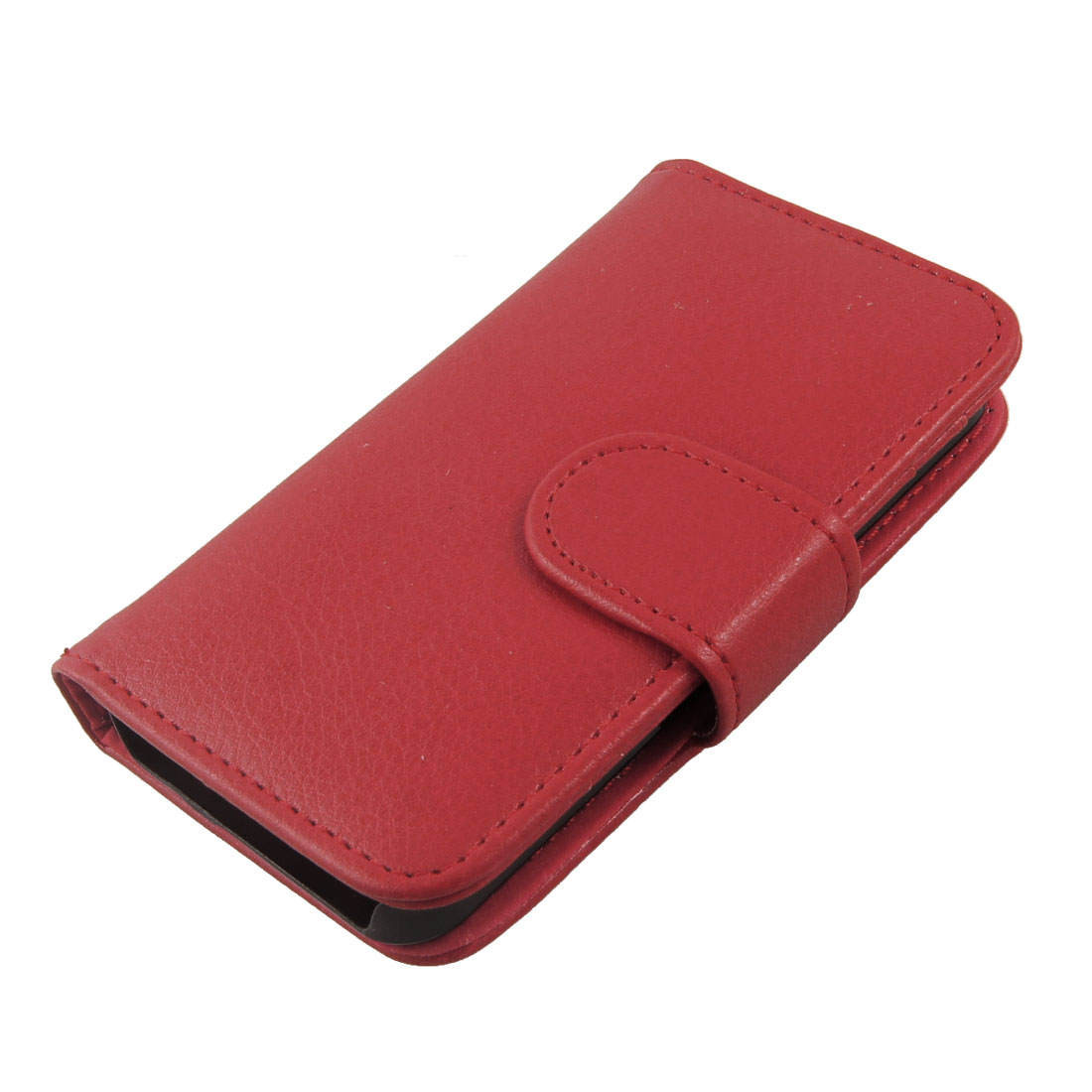 Faux Leather Coated Red Magnetic Closure Case Cover for iPhone 4 4S