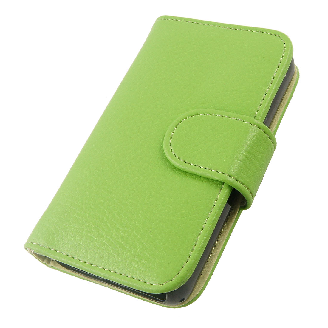 Green Faux Leather Magnetic Flip Closure Case Cover for iPhone 4 4S