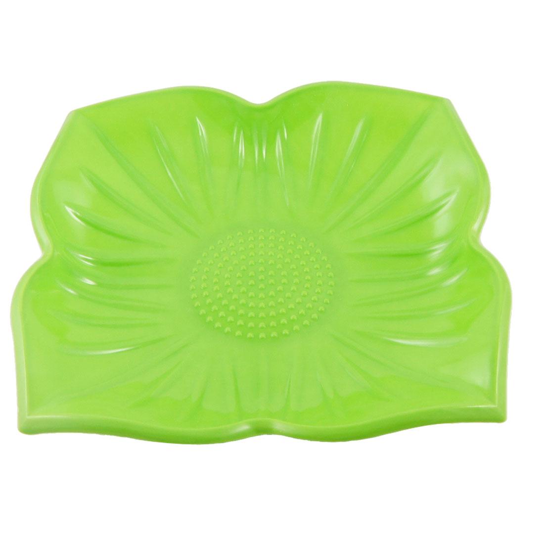 Plastic Green Floral Pattern Design Salad Fruit Plate Dish