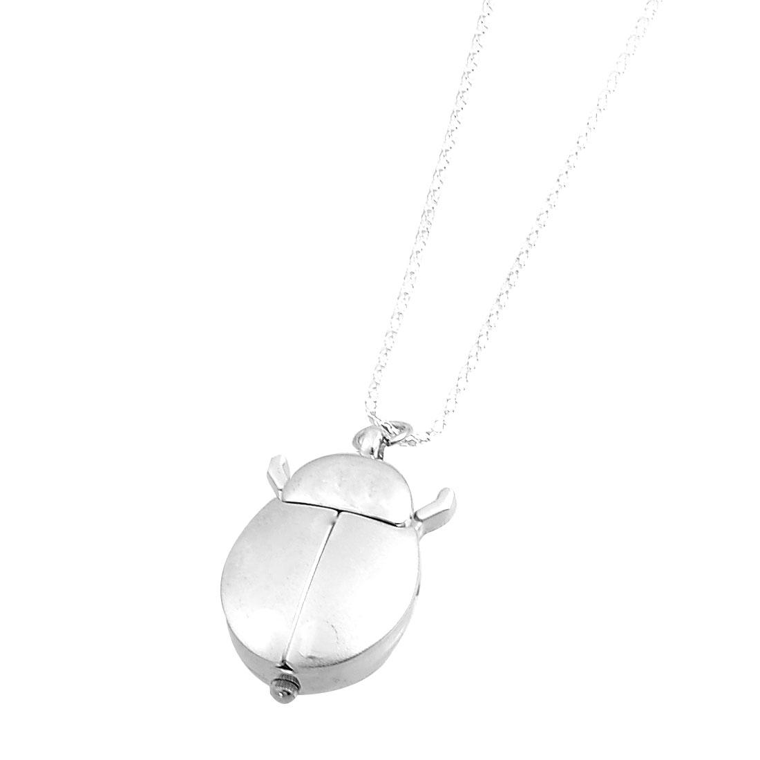 Ladies Silver Tone Metal Ladybug Pendant Necklace Quartz Watch