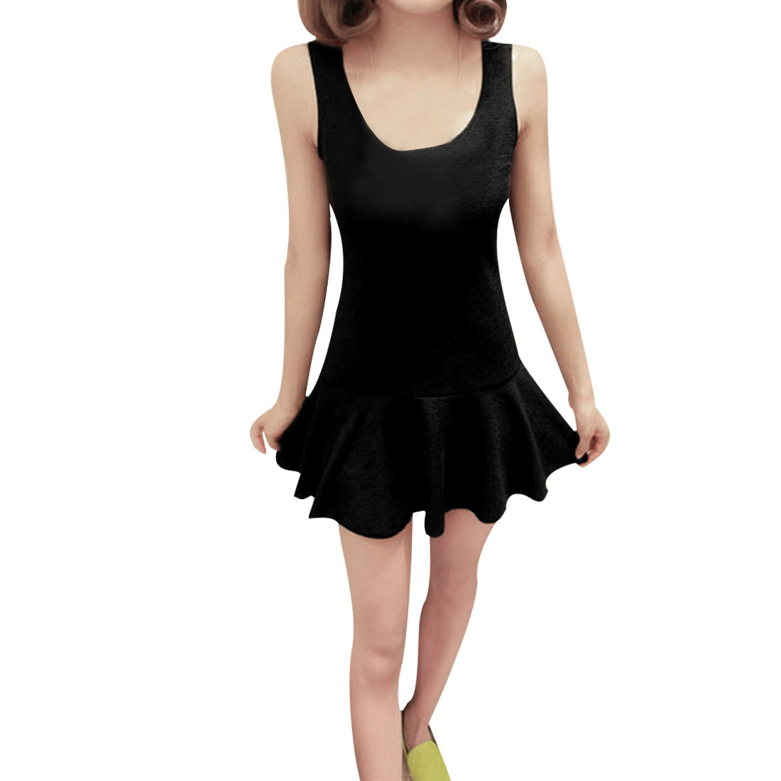 Women Scoop Neck Sleeveless Flouncing Hem Mini Dress Black XS