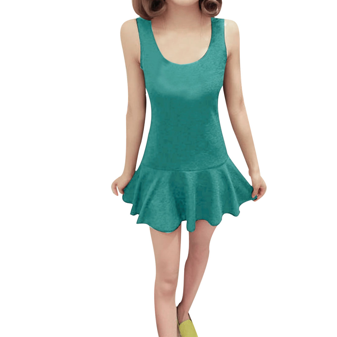 Women Scoop Neck Sleeveless Flouncing Hem Mini Dress Green XS