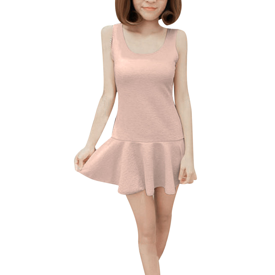 Women Scoop Neck Sleeveless Flouncing Hem Mini Dress Beige XS