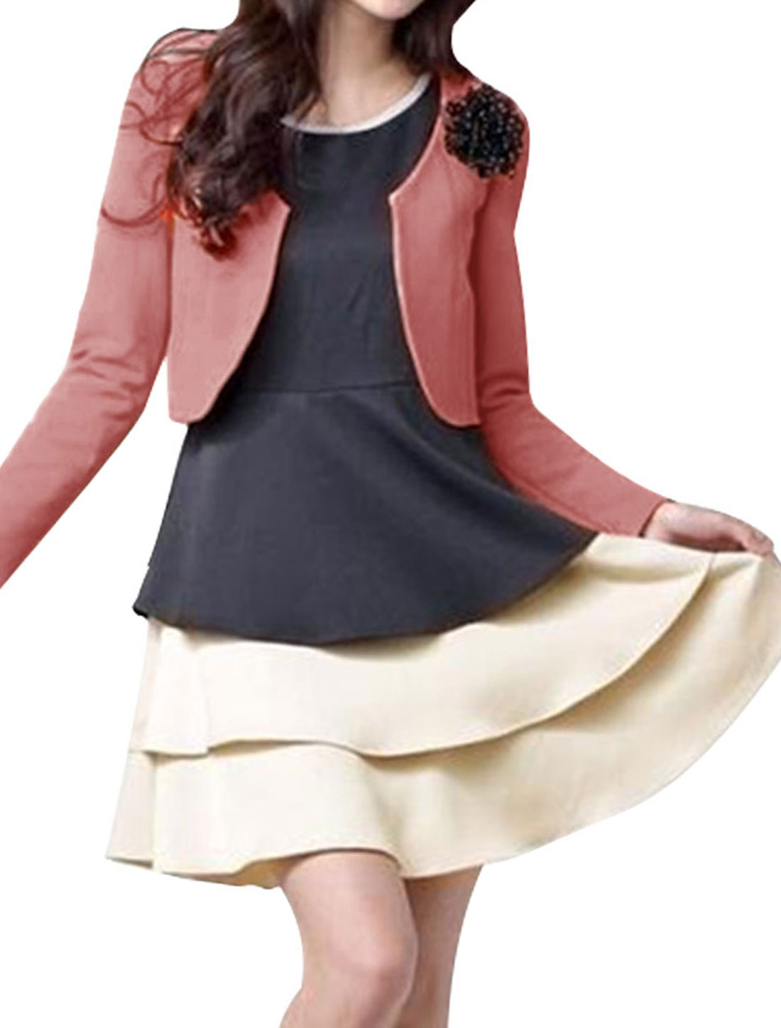 Ladies Pink Front Opening Long Sleeve Elegant Spring Casual Blazer Coat XS