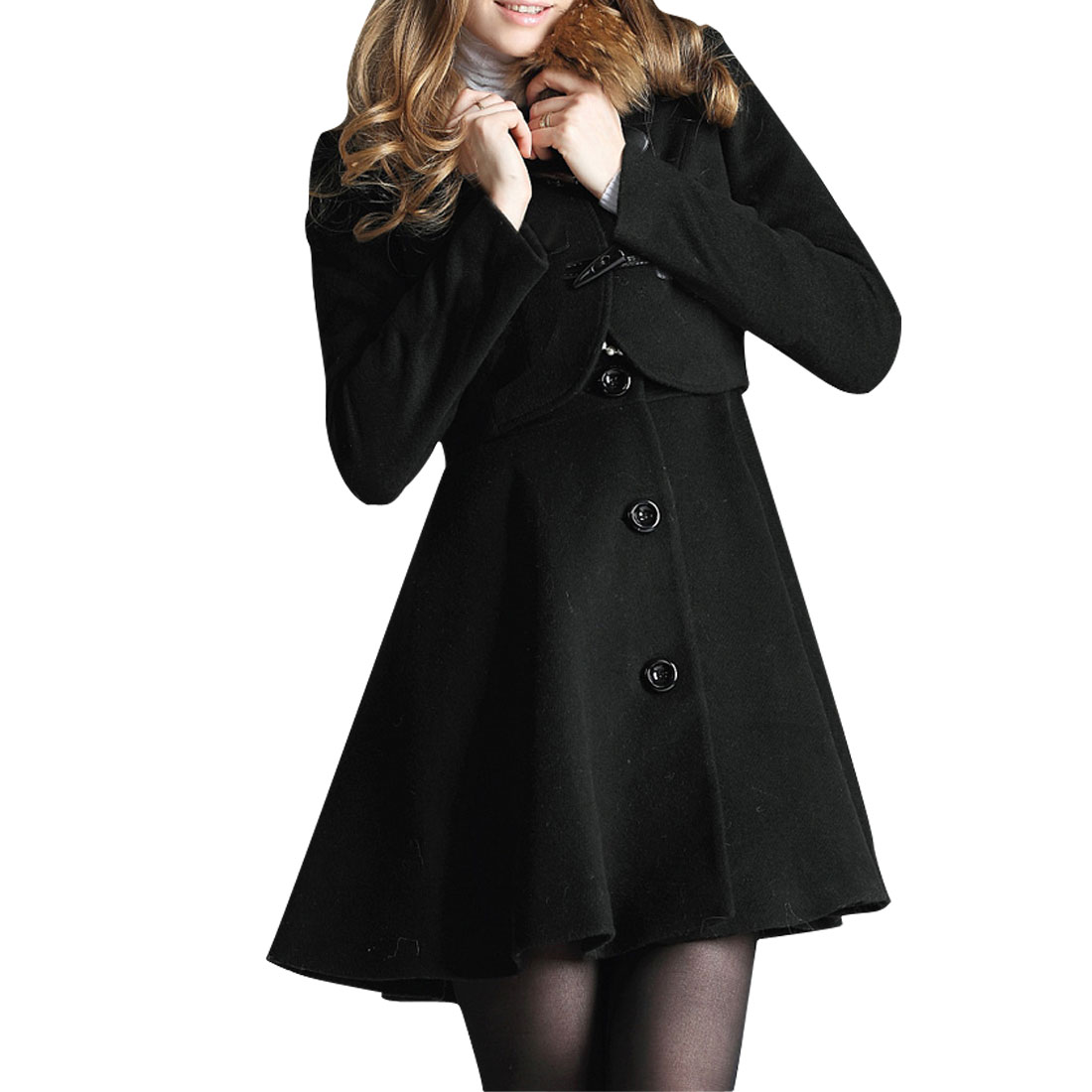 Ladies Black Long Sleeves Blazer w Single Breasted Tank Dress XS