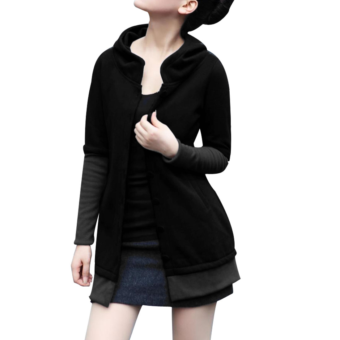 Ladies Black Hooded Long Sleeve Two Tone Leisure Autumn Warm Coat XS