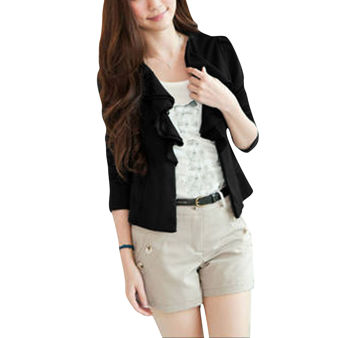 Ladies Black Ruffled Neckline Puff Sleeves Spring Coat XS