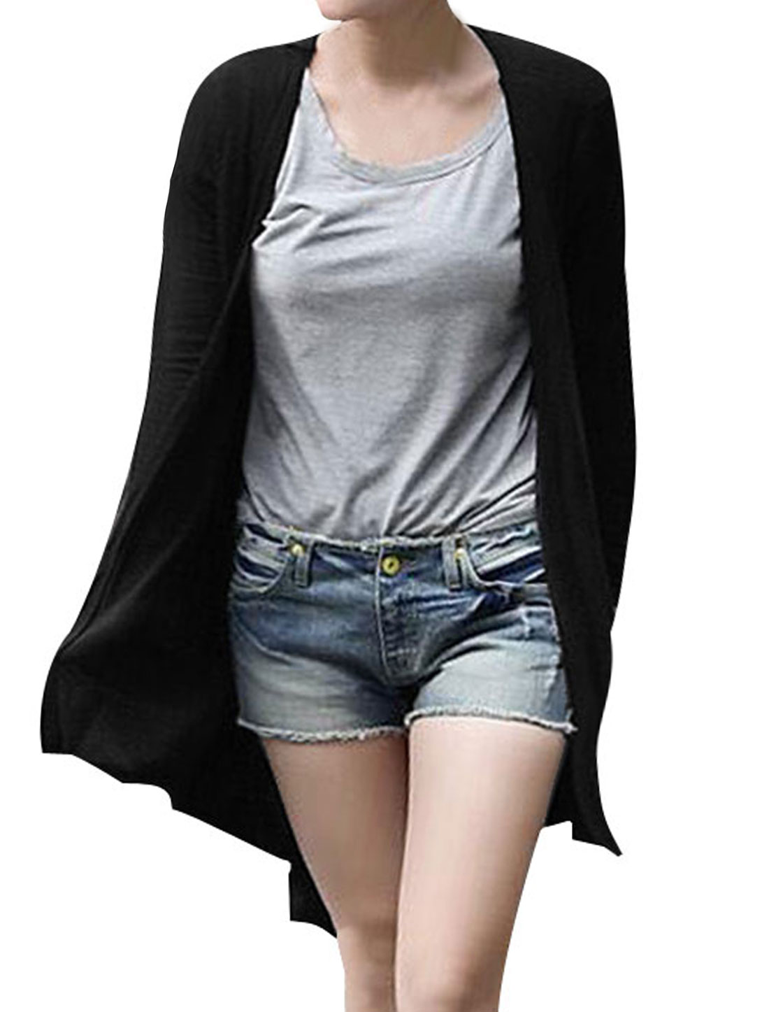 Ladies Black Long Sleeves Front Opening Irregular Hem Side Pockets Coat XS