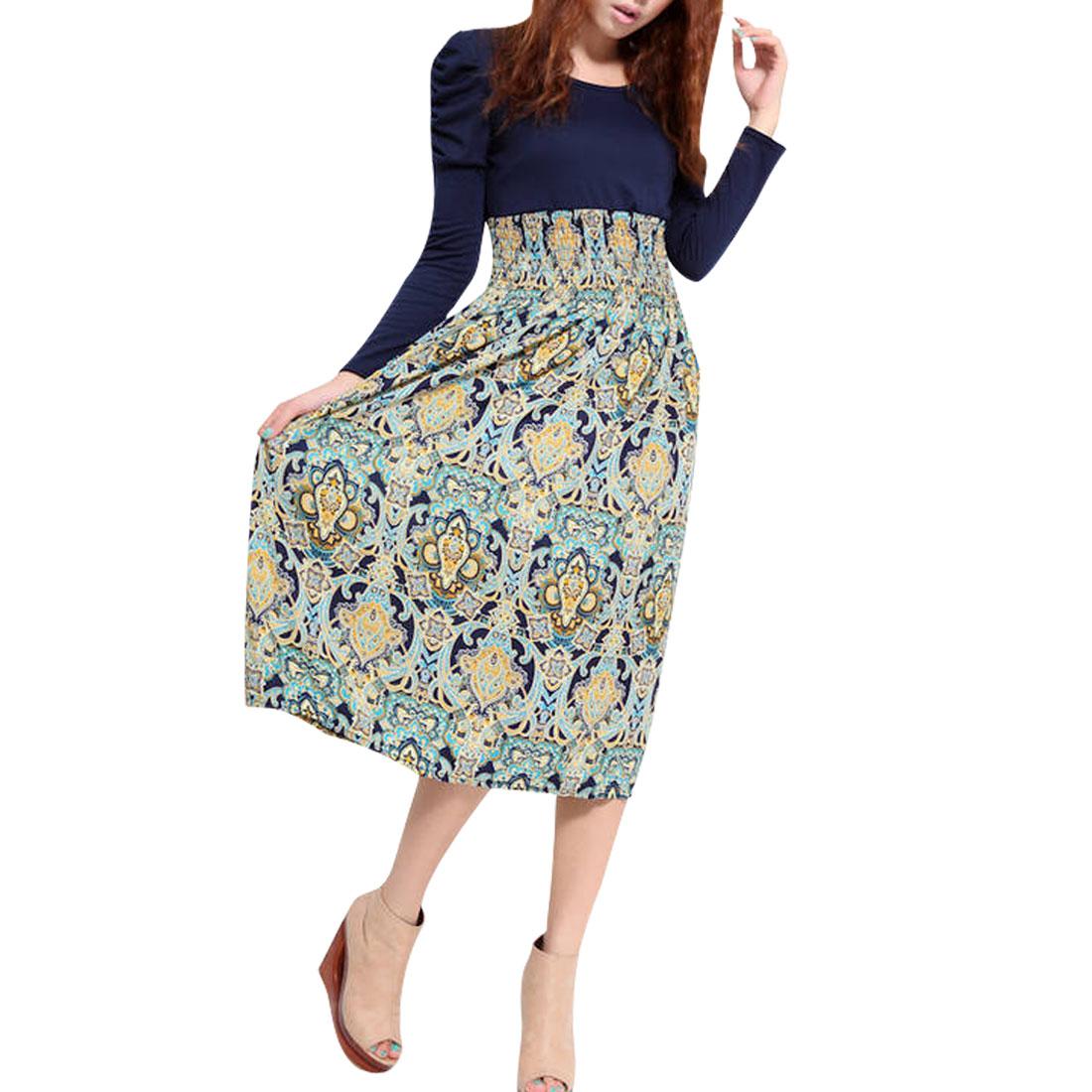 Women Dark Blue Light Gray Scoop Neck Novelty Prints High Waist Panel Dress XS