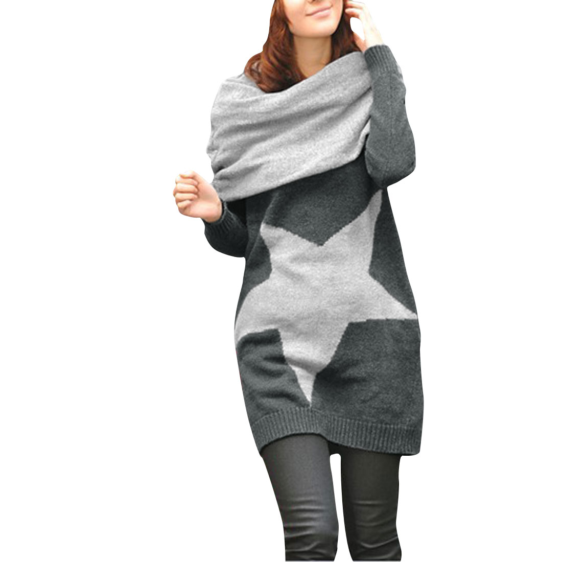 Women Gray Crew Neck Long Sleeve Pullover Loose Sweater w Knitted Scarves S