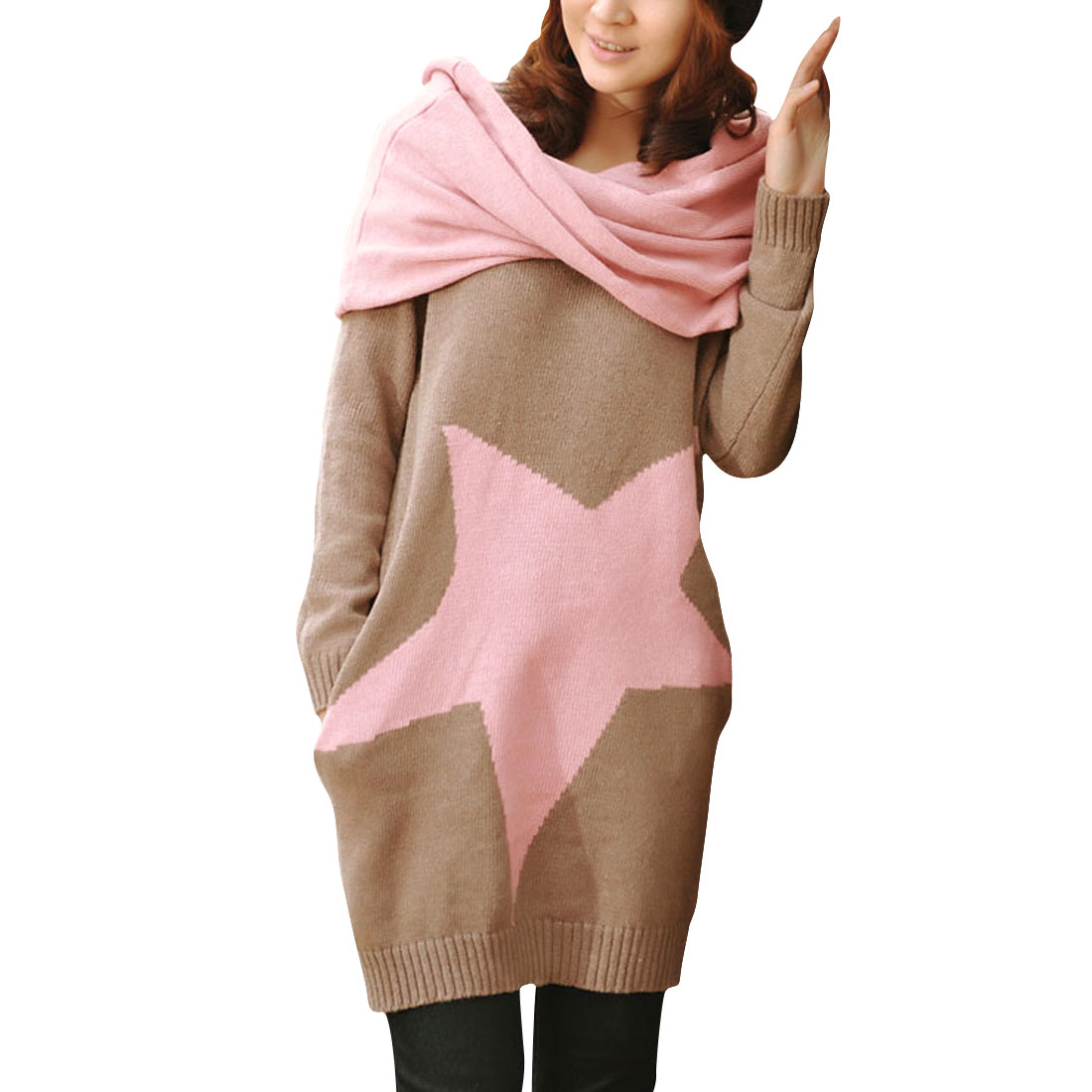 Lady Khaki Pink Crew Neck Long Sleeve Stars Prints Sweater w Knitted Scarves S