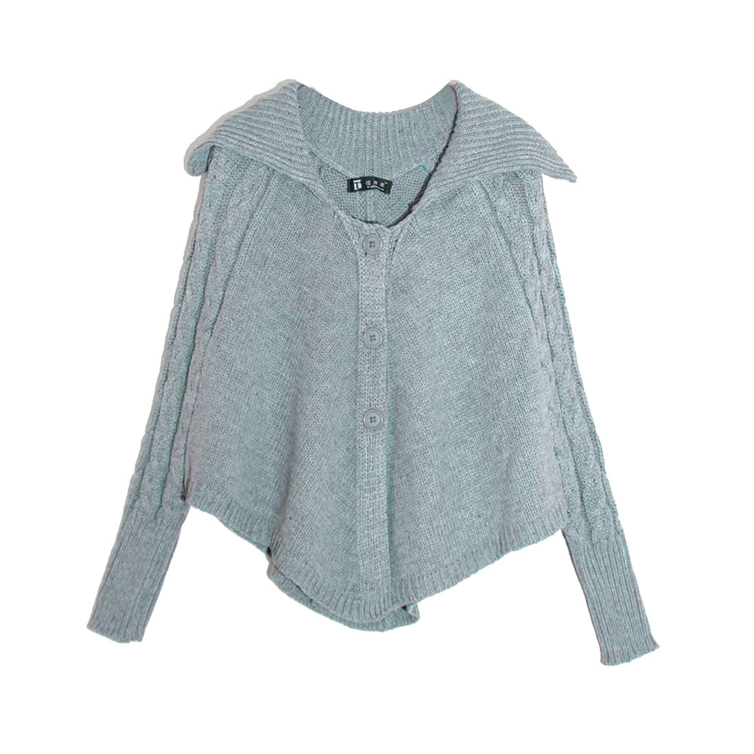 Ladies Gray Single Breasted Long Sleeve Autumn Casual Sweater Poncho XS