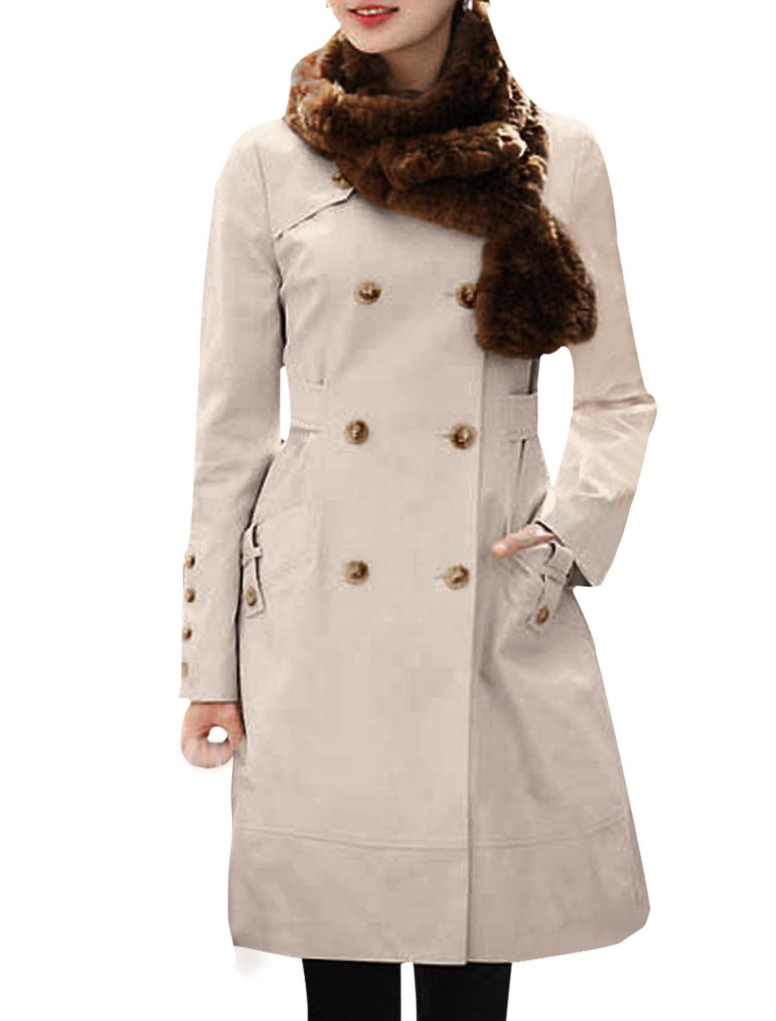 Ladies Beige Split Lapel Long Sleeve Autumn Elegant Casual Trench Coat XS