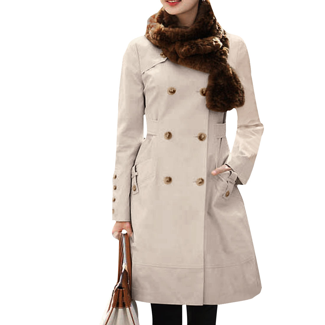 Women Beige Double Breasted Long Sleeve Button-tab Cuff Leisure Trench Coat XS