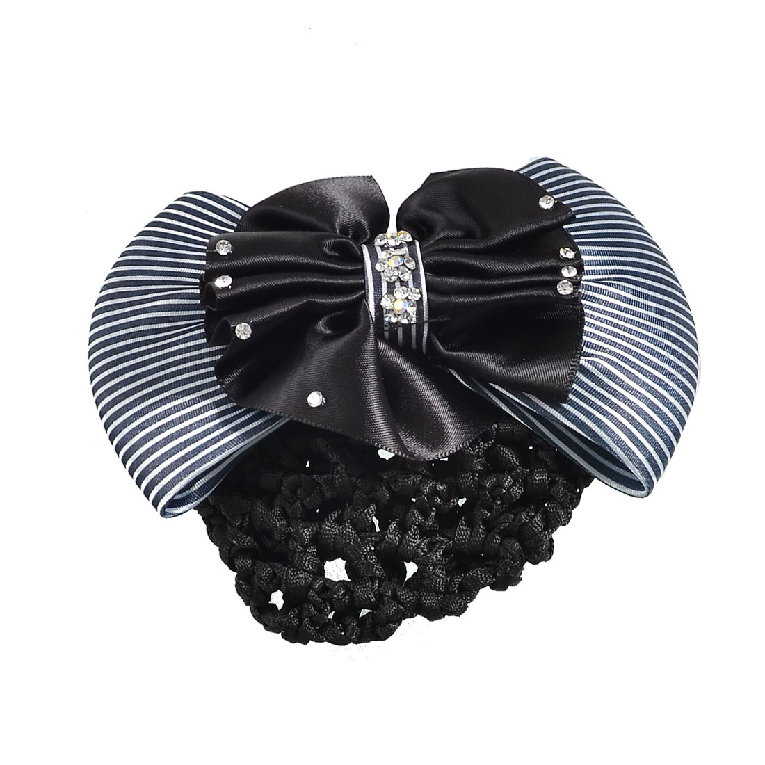 Ladies Black White Striped Bowtie Accent Barrette Hair Clip Snood Net