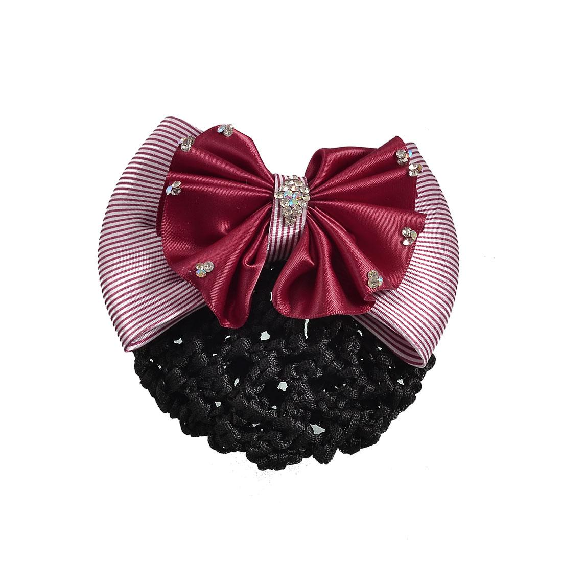 Women Burgundy Double Layers Bowtie Detail Hairclip Hair Pin w Snood Net