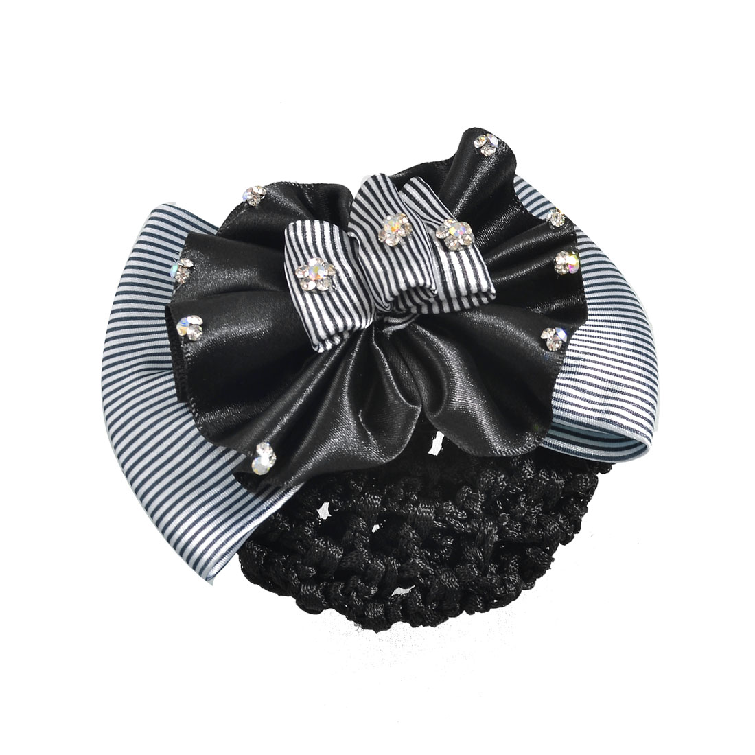 Women Black Double Layers Bowtie Accent Hairclip Hair Pin w Snood Net