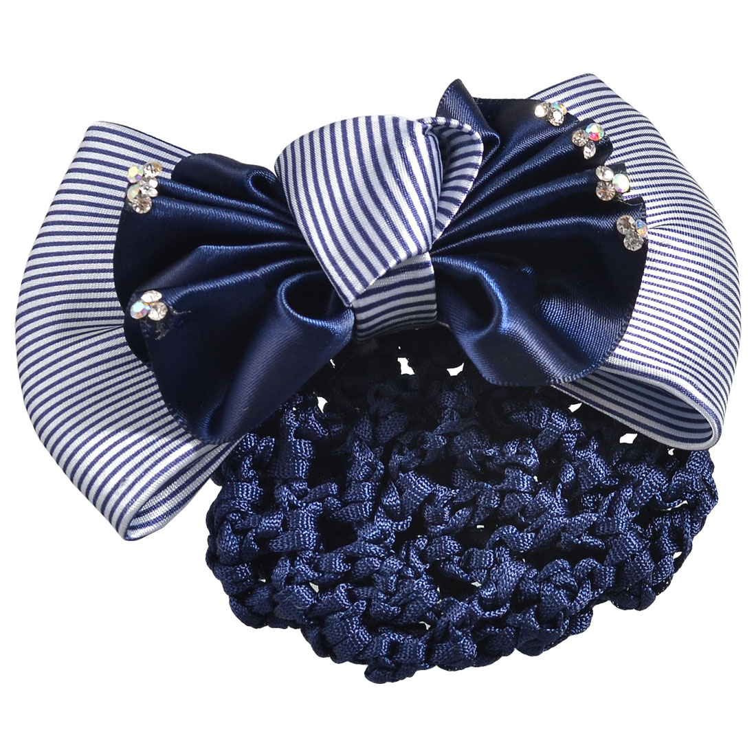 Woman Glitter Rhinestone Accent Ruffled Bow Hairnet Hairclip Navy Blue