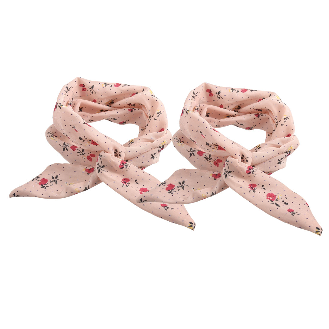 2 Pcs Mini Dots Print Pink Chiffon Wrapped Metal Band Hair Loop Ponytail Holder