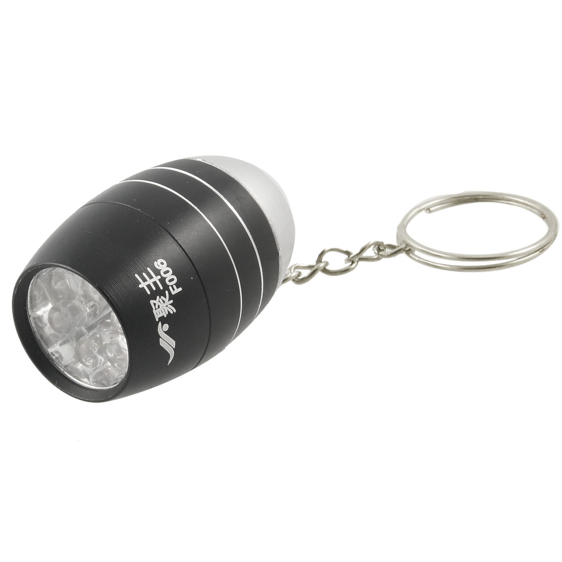 Silver Tone Black Alloy Shell White 6 LEDs Flashlight Torch w Slipt Ring