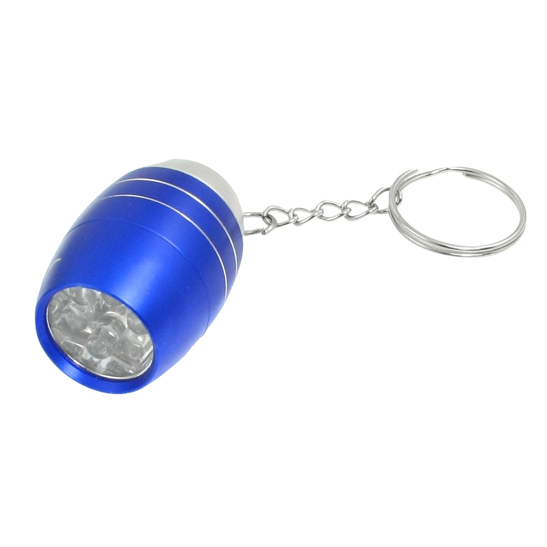 Travel Blue Silver Tone Shell White 6 LEDs Mini Flashlight Torch Keyring