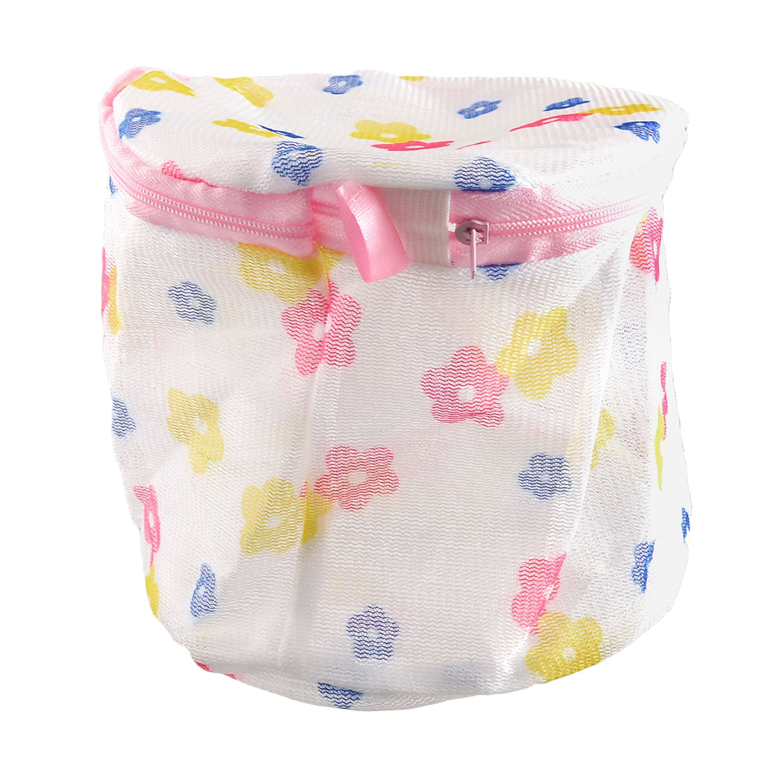 Laundry Floral Print Nylon Mesh Underwear Bra Washing Bag White