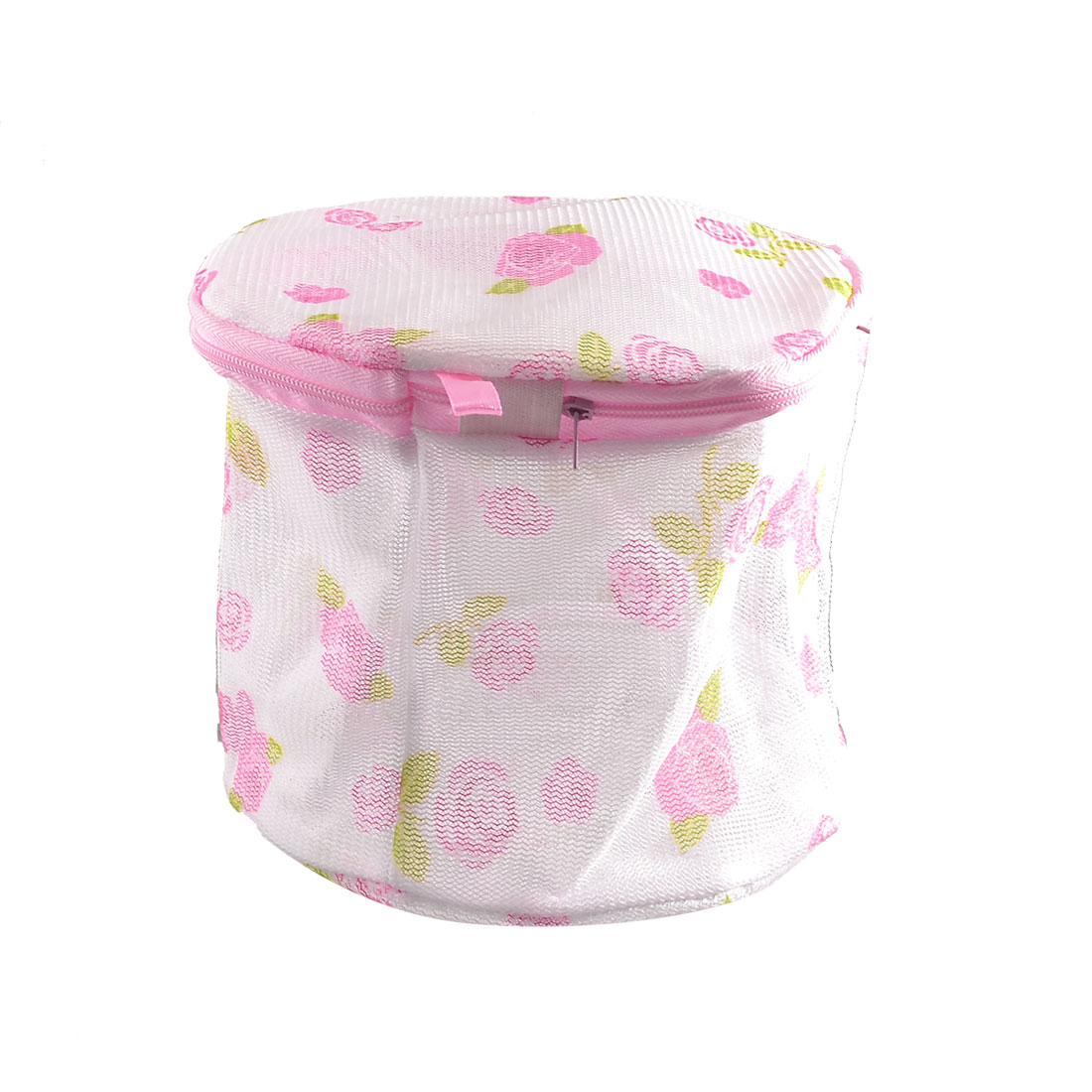 Plastic Frame Floral Print White Meshy Folding Underwear Bra Washing Bag