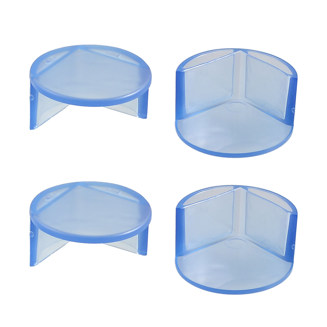 Clear Blue Plastic Desk Table Corner Cushion Safety Pad Cover 4 Pcs