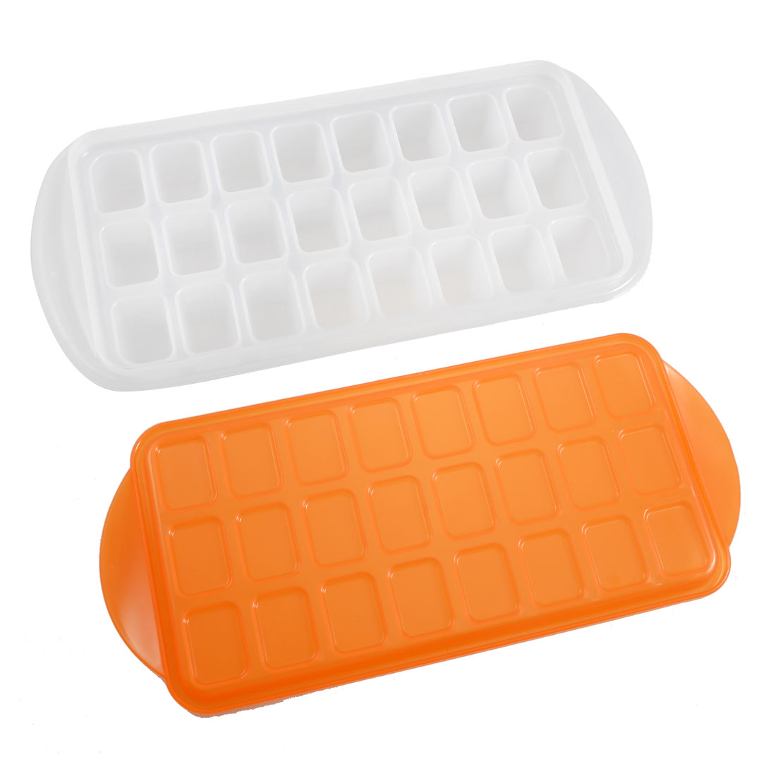 Orange Red Lid 24 Slots White Plastic Chocolate Maker Ice Cube Mold Mould