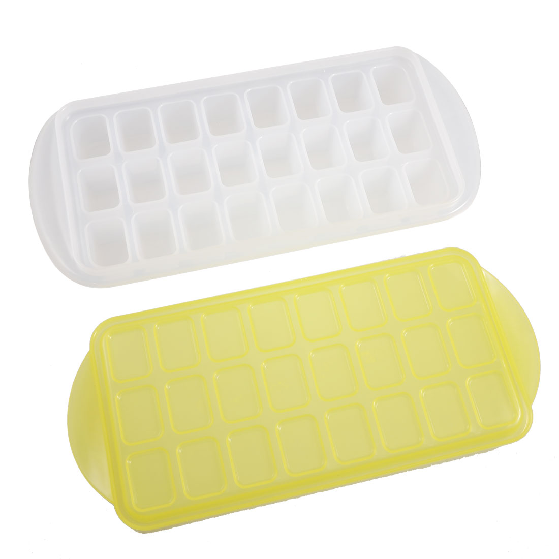 24-slot White Plastic Cake Maker Ice Cube Mold Mould w Yellow Cover