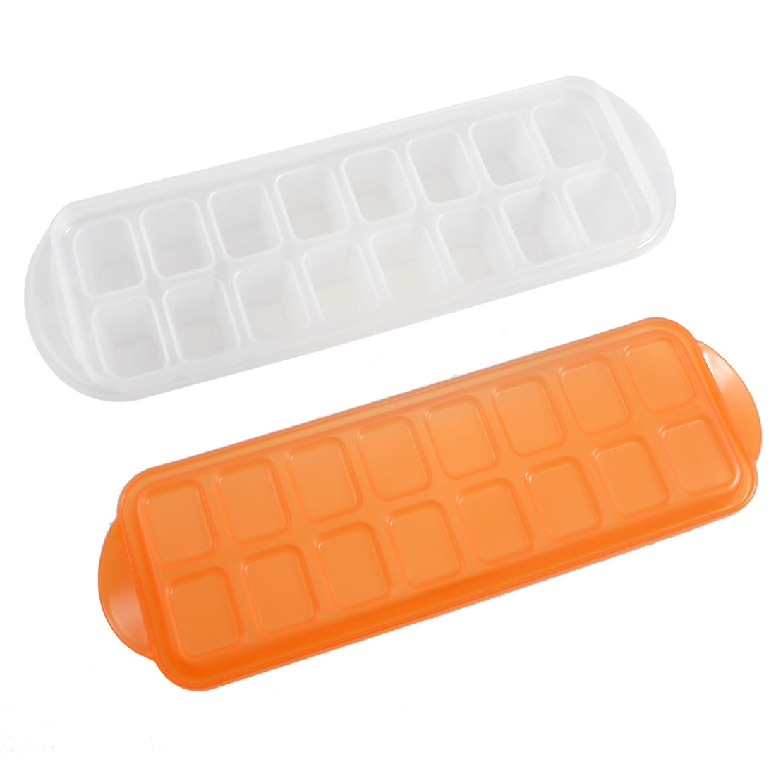 16-Compartment White Plastic Pudding Mould Ice Cube Mold w Orange Red Cover