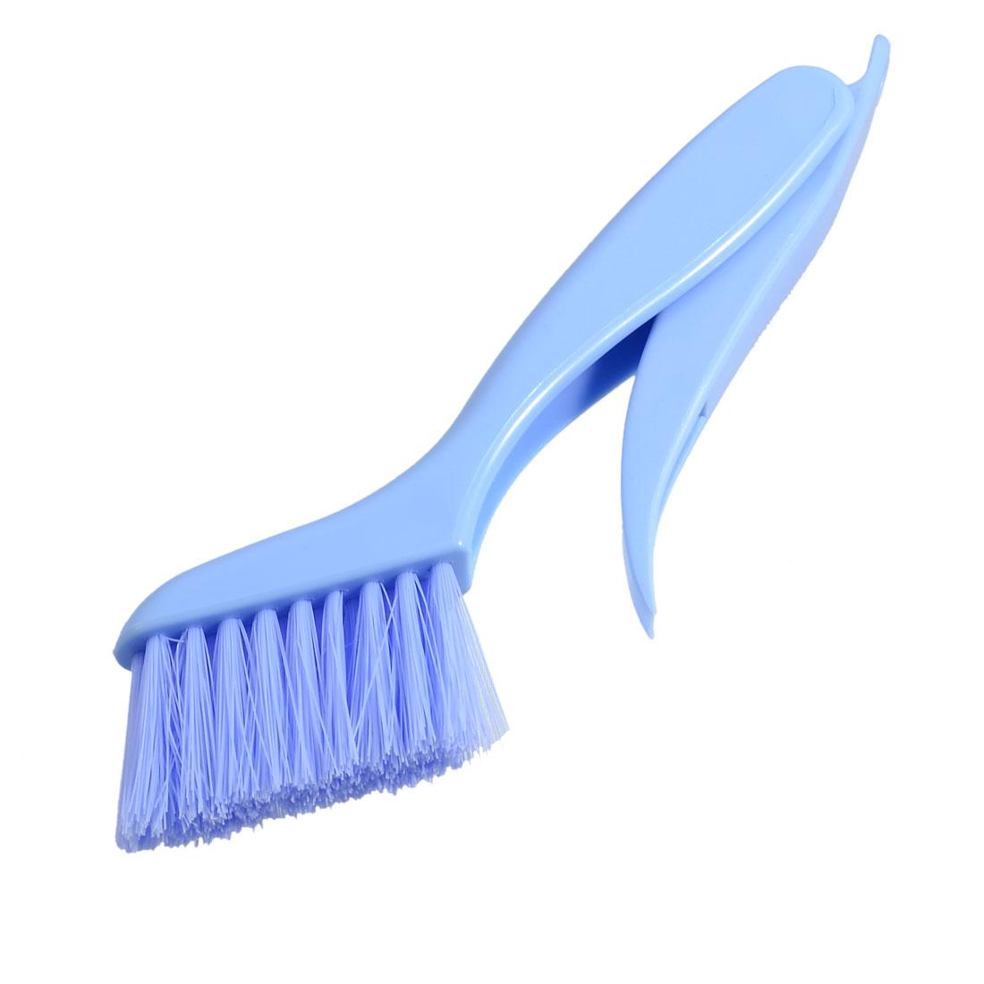 Soft Bristle Blue Plastic Foldable Handle Window Cleaning Brush Scraper