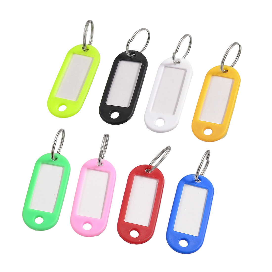 Assorted Color Plastic Name Tag Badge Clip Holder Keychain Ornament 8 Pcs