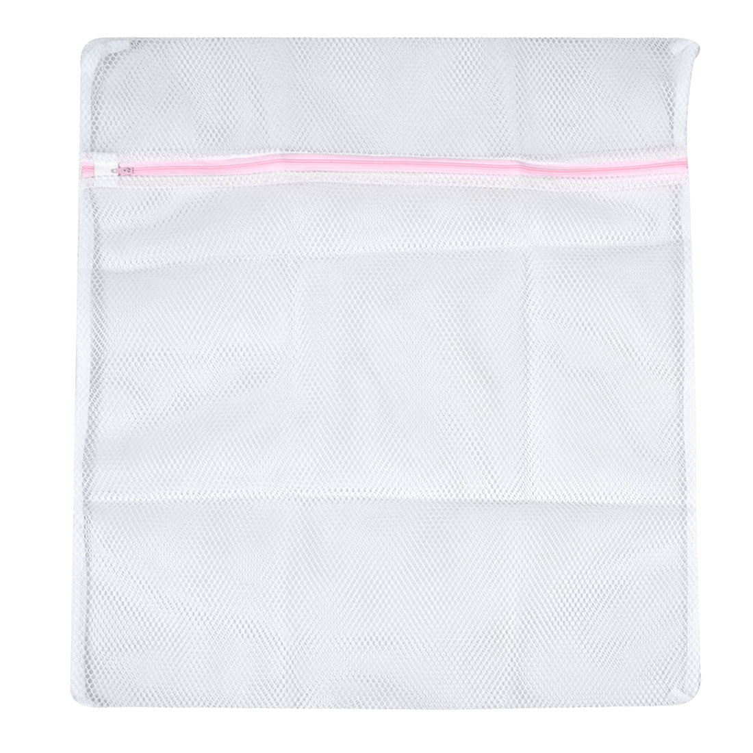 Laundry Zipper Closure White Mesh Underwear Clothes Washing Bag 60cm x 50cm