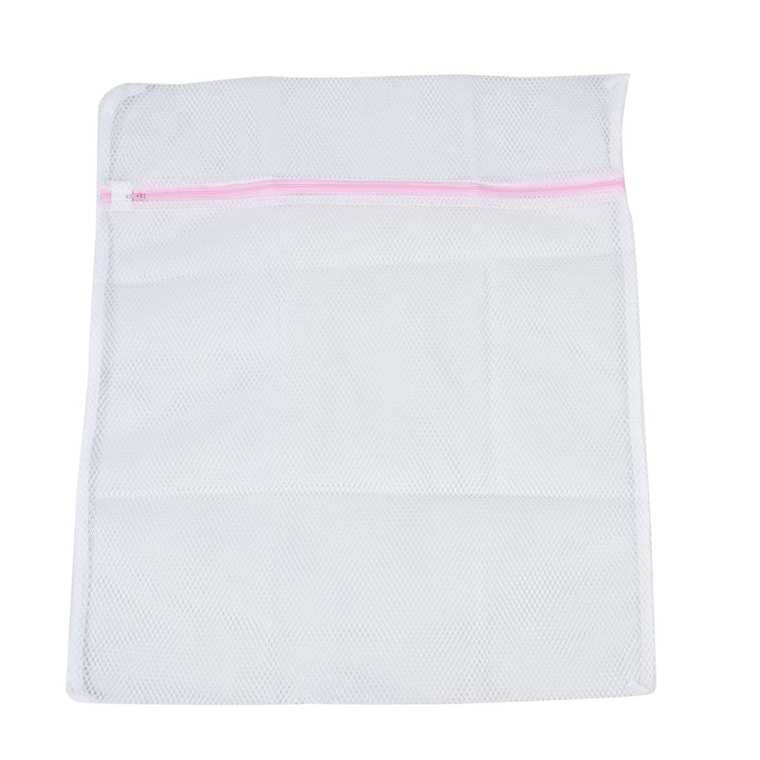Laundry White Meshy Underwear Silk Stockings Clothes Washing Bag 50cm x 40cm