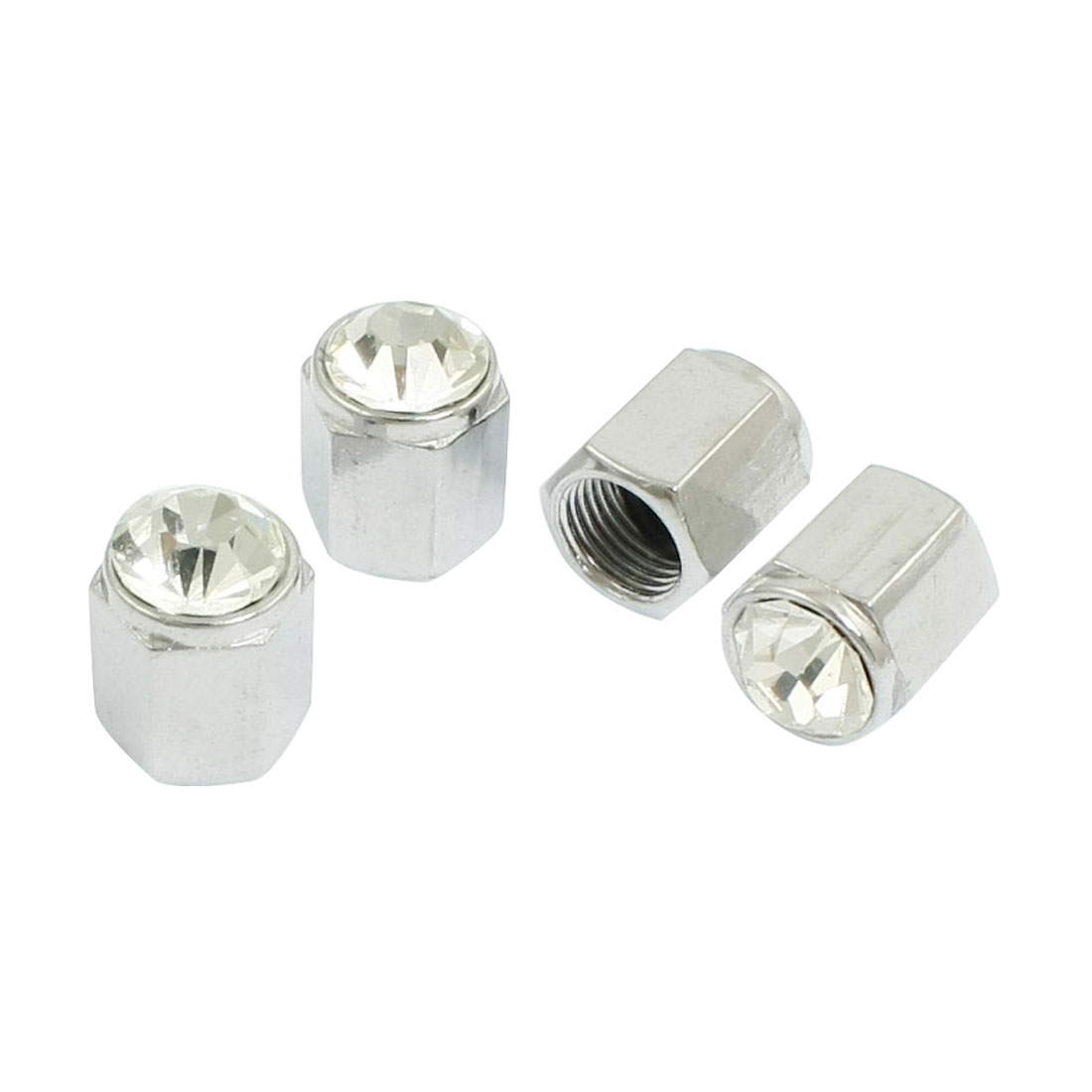 4 Pcs Car Vehicle Clear Rhinestone Inlaid Hexagon Tire Valve Cap