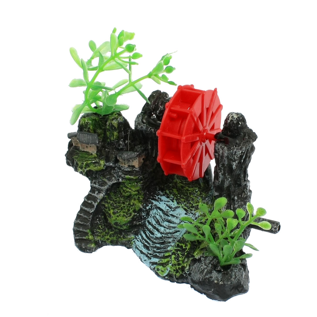 Resin Base Red Wheel Aquarium Landscape Decoration for Fish Tank
